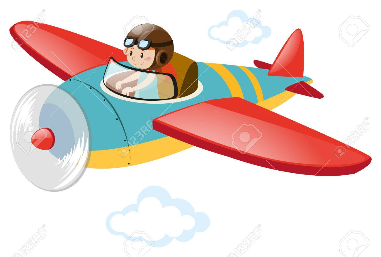 Pilot Flying Airplane In The Sky Illustration Royalty Free
