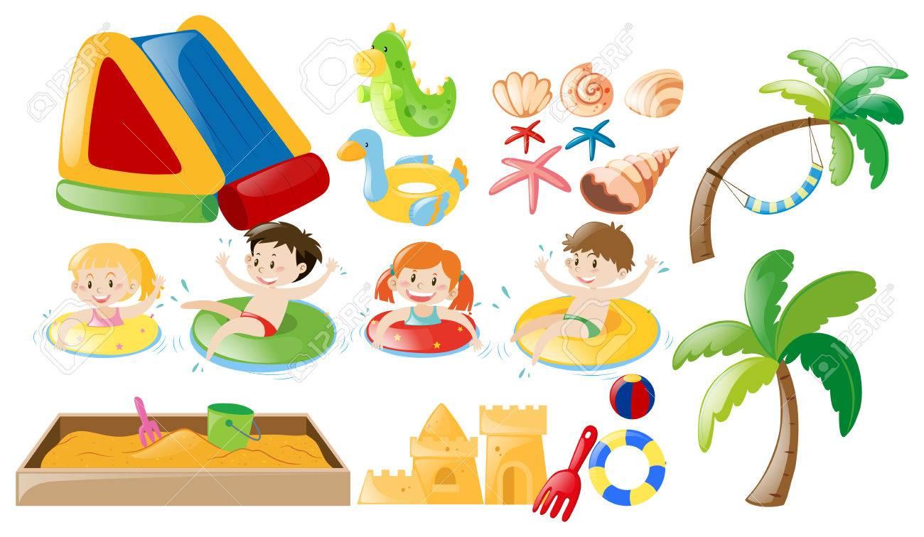 子供スイミングビーチのおもちゃイラストのイラスト素材ベクタ
