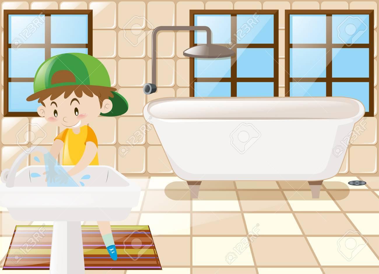 Junge Händewaschen In Toilette Illustration Lizenzfrei Nutzbare