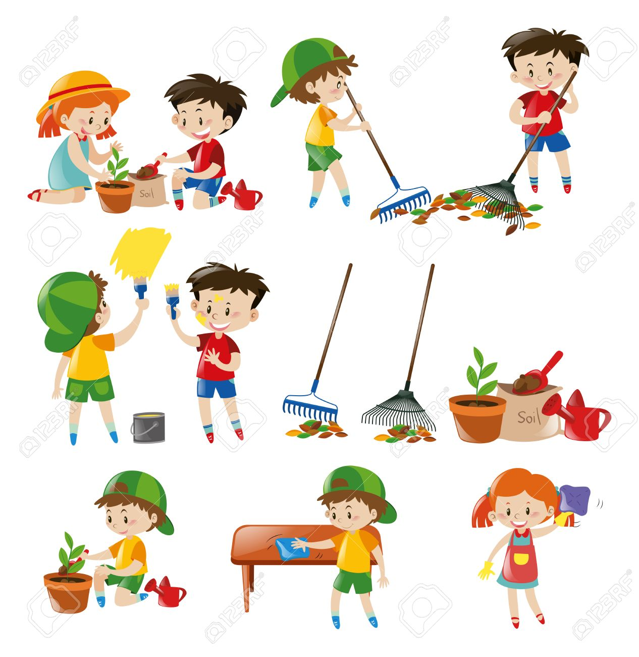 children doing different chores illustration royalty free cliparts
