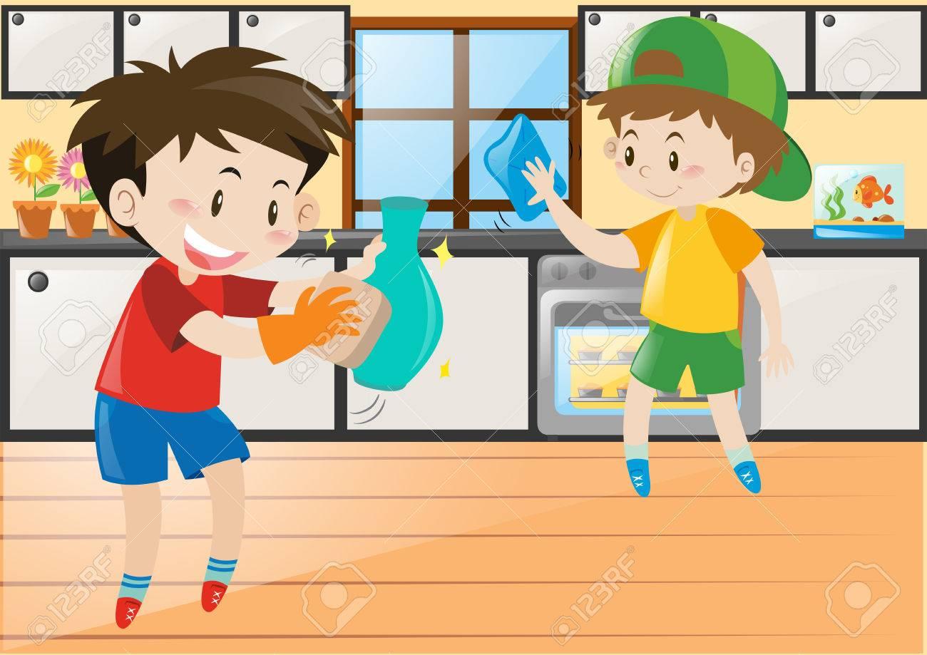 Zwei Jungen In Der Küche Illustration Reinigung Lizenzfrei Nutzbare ...