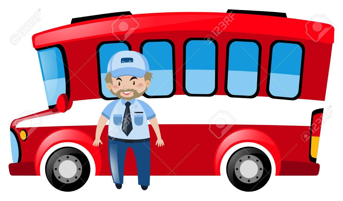 バスの運転手や赤バス イラスト ロイヤリティフリークリップアート