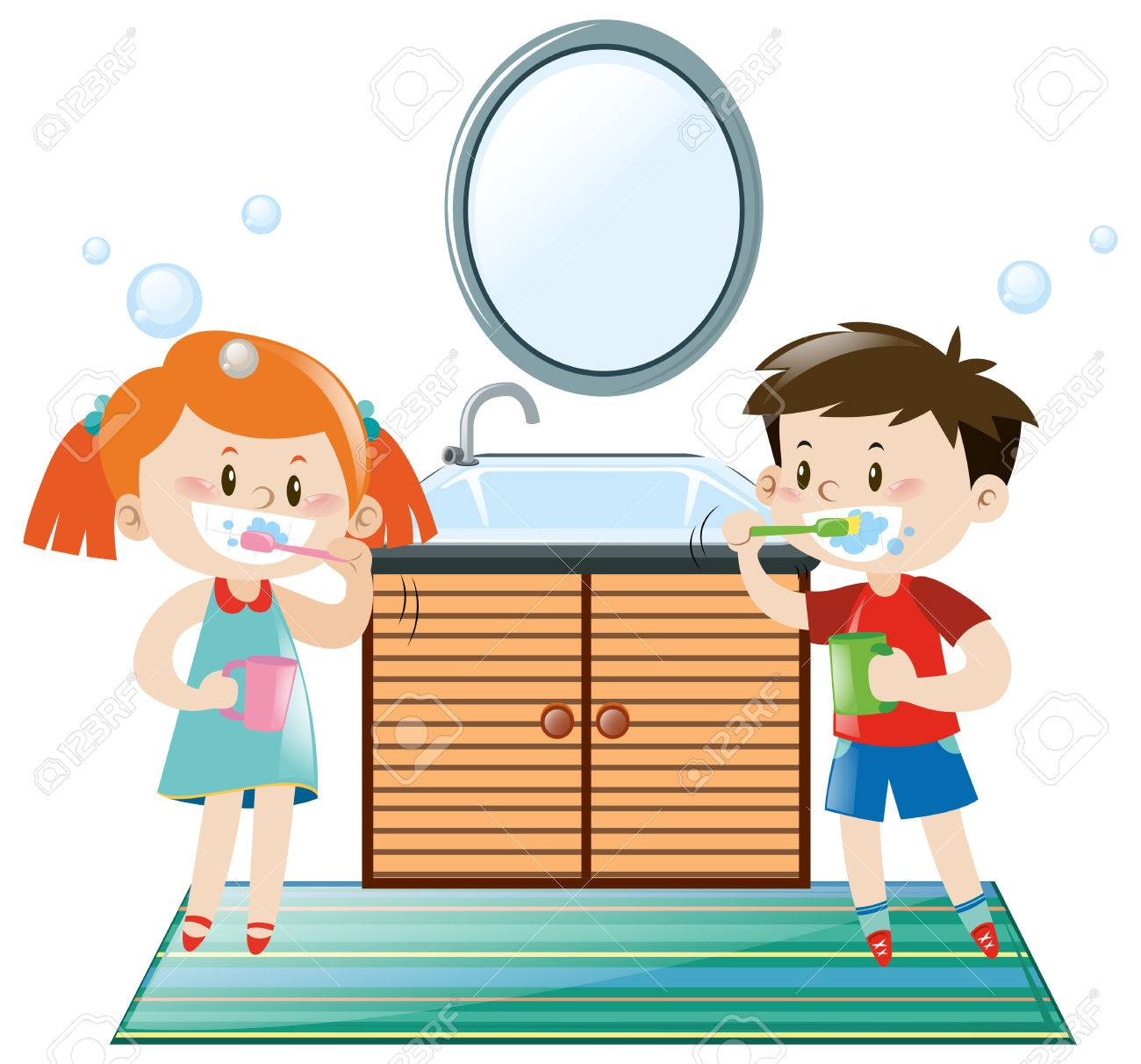boy and girl brushing teeth in bathroom illustration royalty free