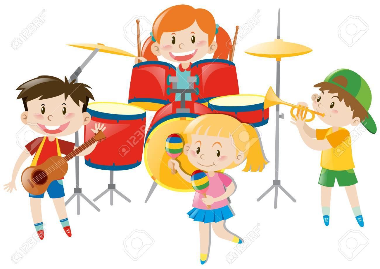 Children Playing Music In Band Illustration Клипарты, векторы, и ...