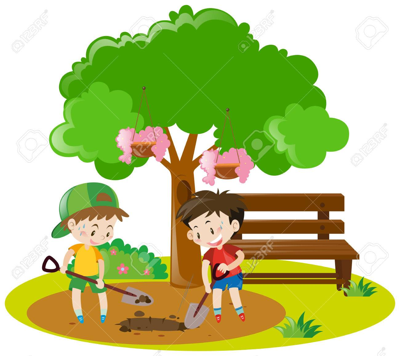 two boys digging hole in garden illustration royalty free cliparts rh 123rf com dog digging clipart digging clipart