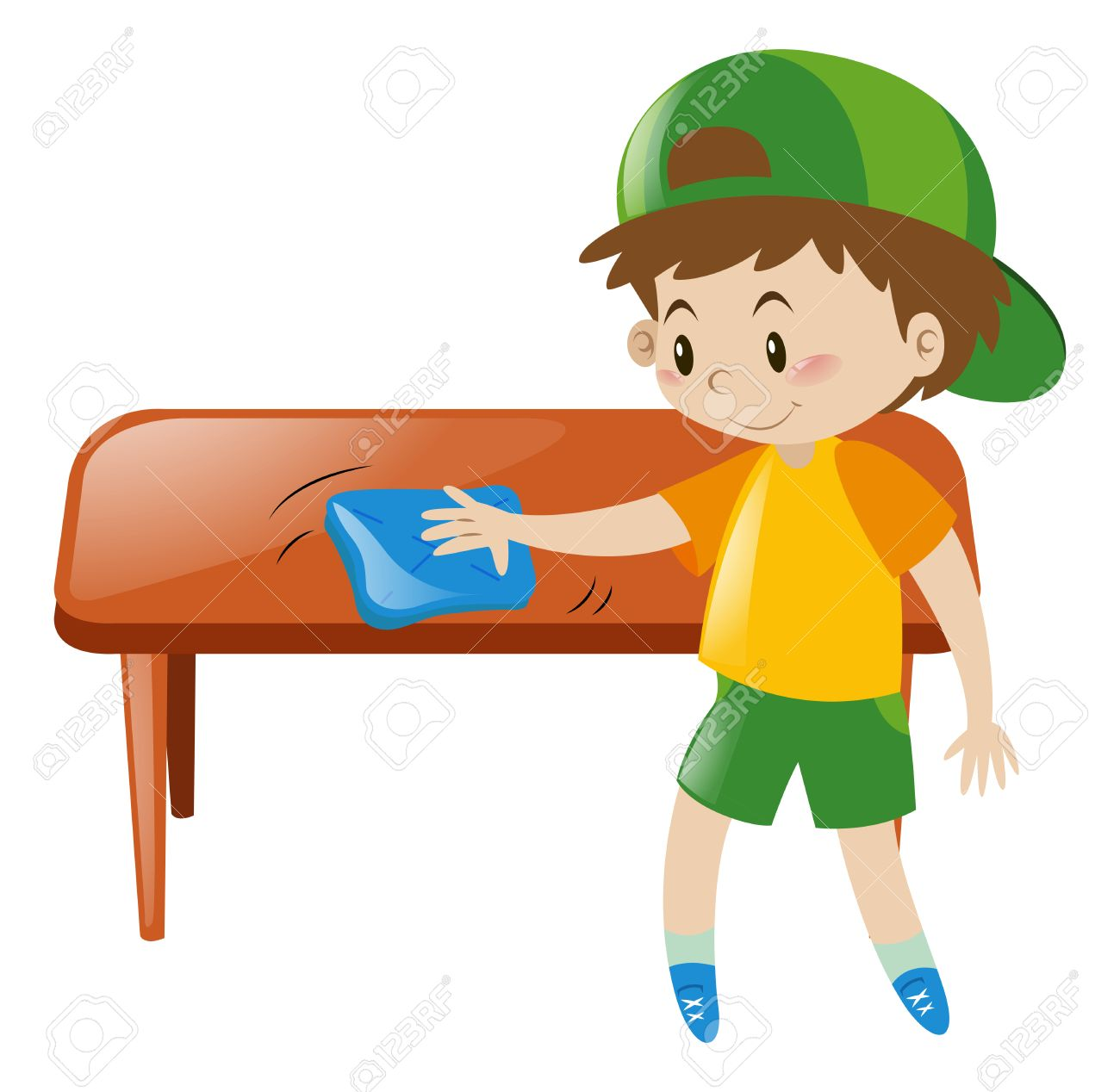 little boy cleaning table with cloth illustration royalty free
