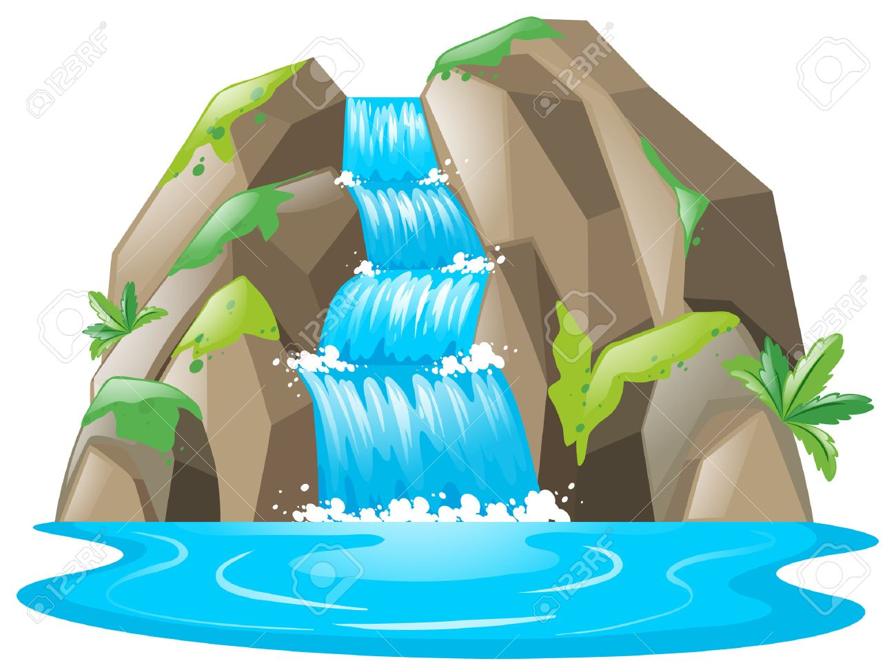scene with waterfall and river illustration royalty free cliparts rh 123rf com river clipart free river clipart images