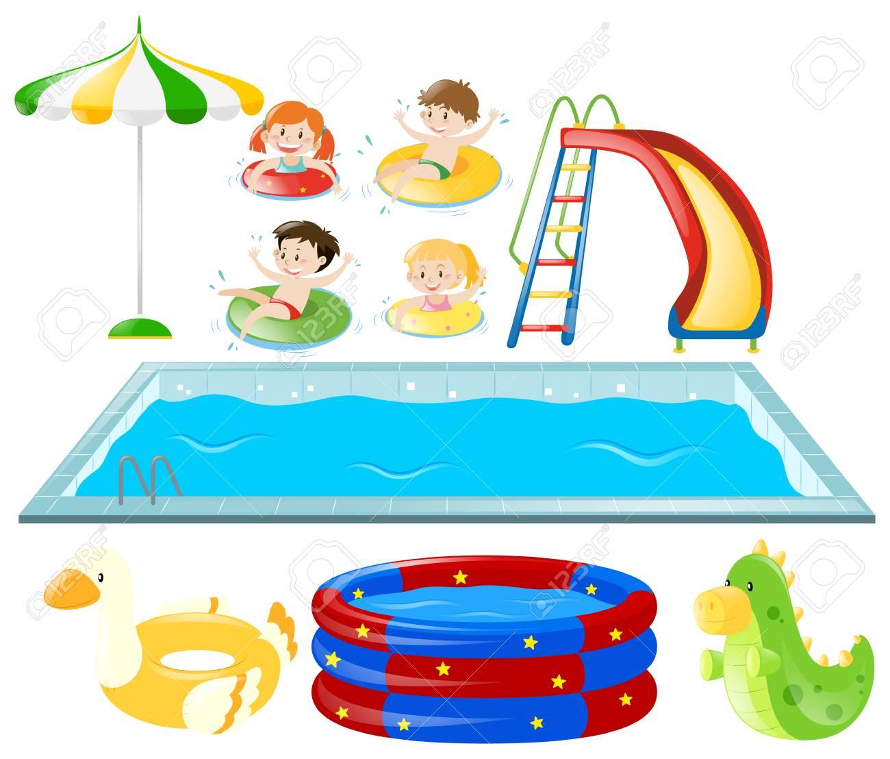 スイミング プール子供の水泳のイラスト入りのイラスト素材ベクタ