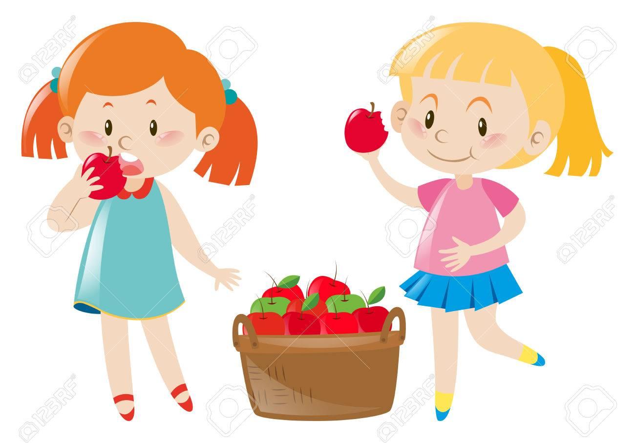 赤りんごのイラストを食べる 2 人の女の子のイラスト素材ベクタ