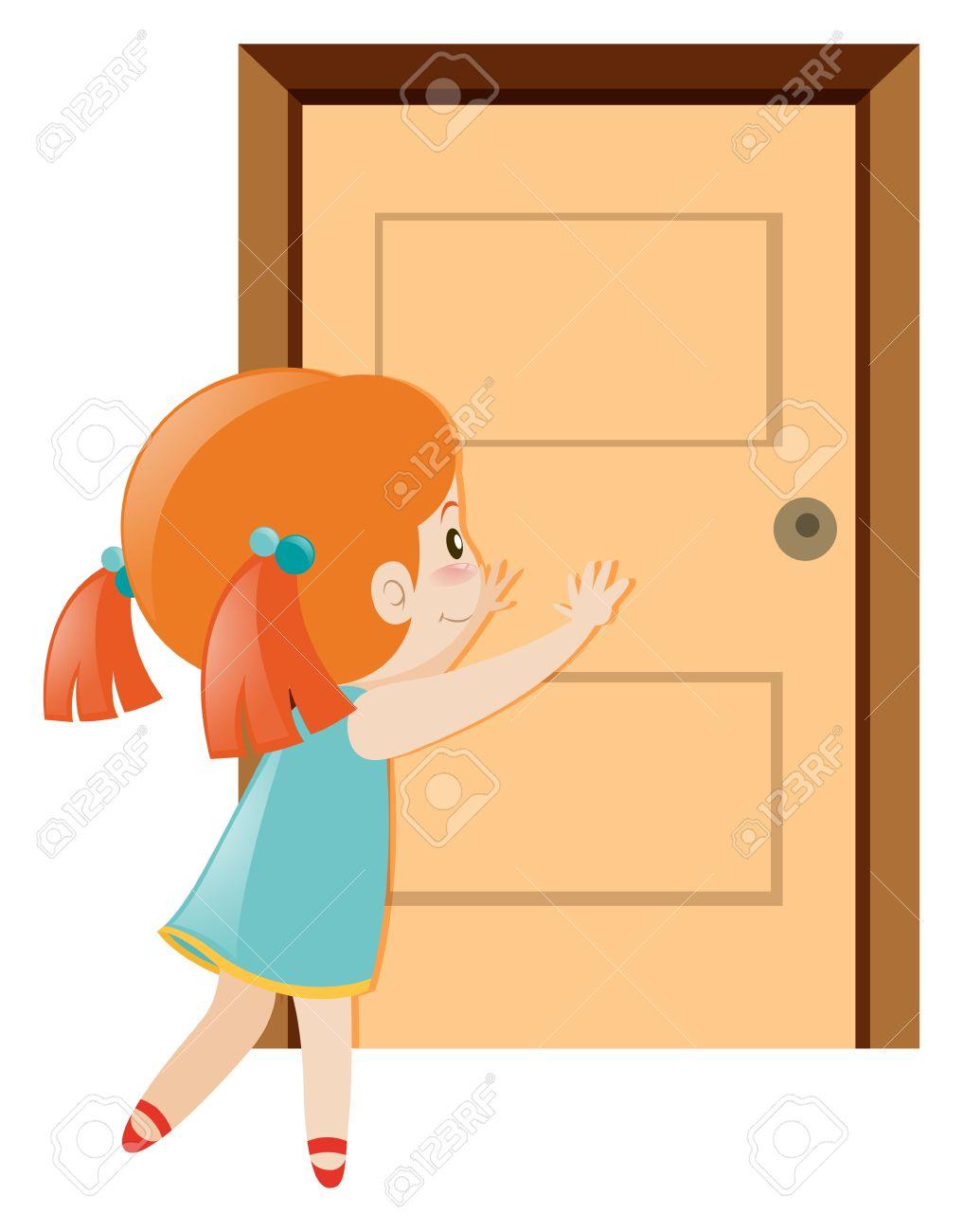 Little girl pushing the door open illustration - 64324229