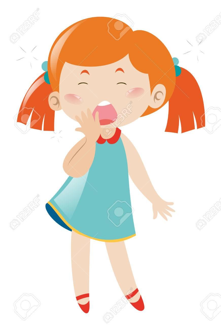 眠そうな少女の白背景イラストにあくびのイラスト素材ベクタ Image