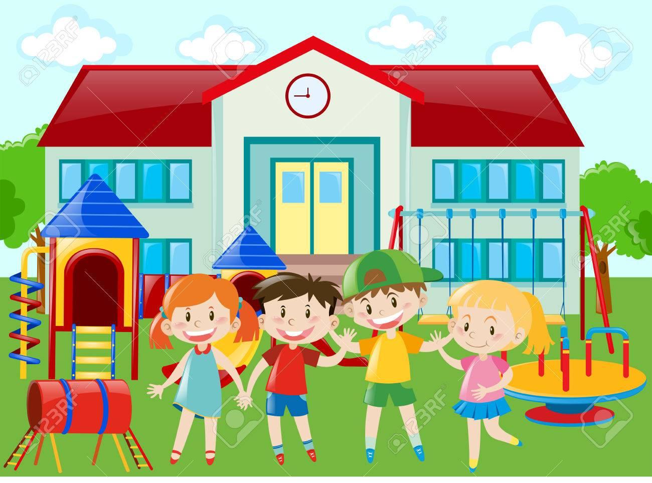 Souvent Les élèves De Maternelle à La Cour De Récréation Illustration Clip  TL29