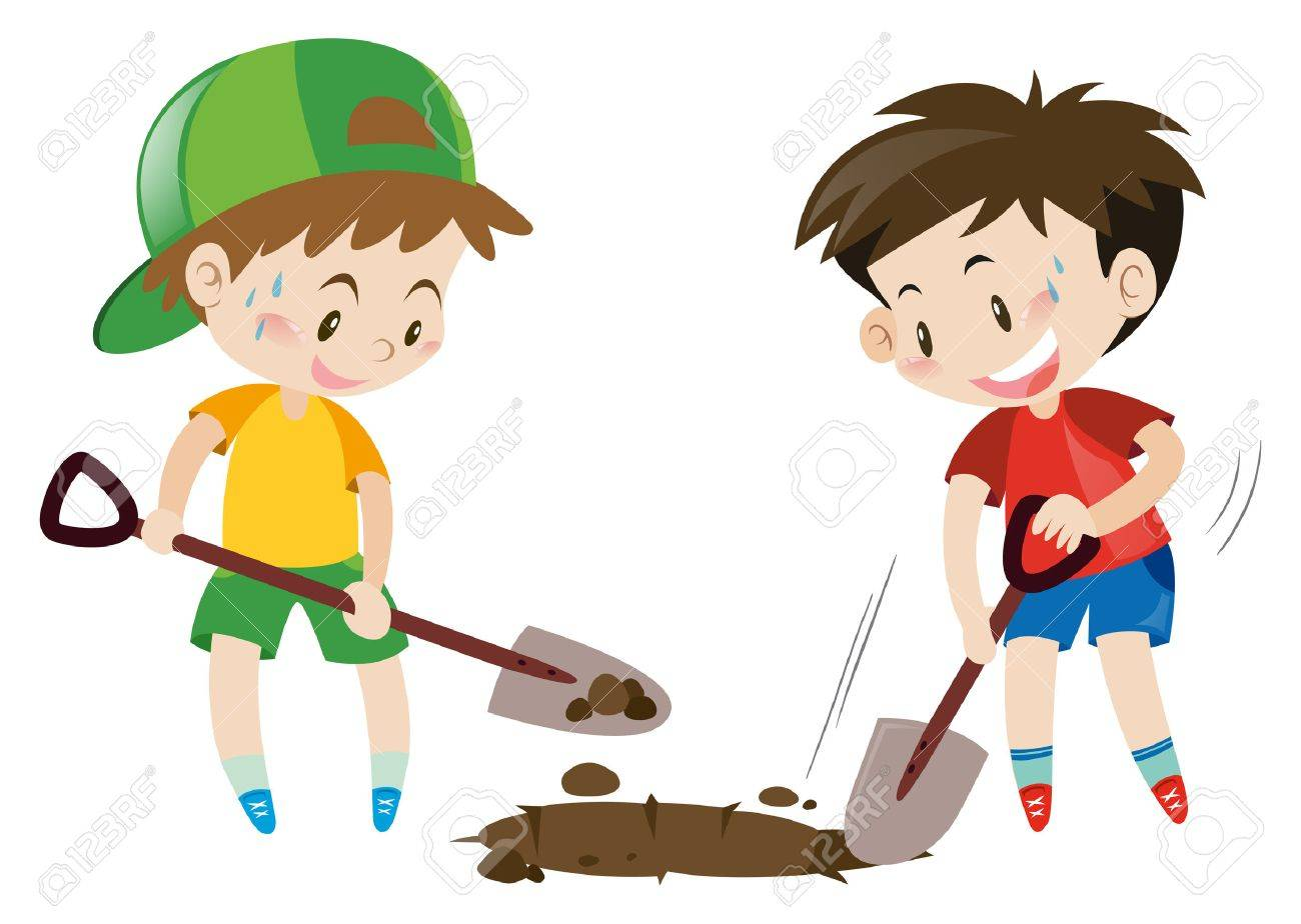 two boys digging hole with shovels illustration royalty free rh 123rf com digging clipart black and white dog digging clipart