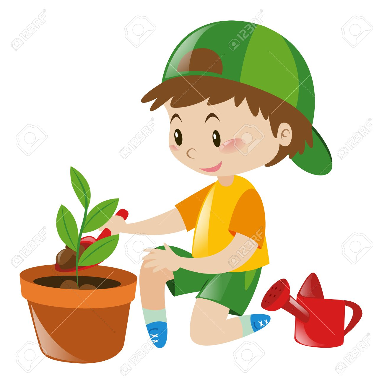 boy planting tree in clay pot illustration royalty free cliparts rh 123rf com plant clipart black and white planing clipart