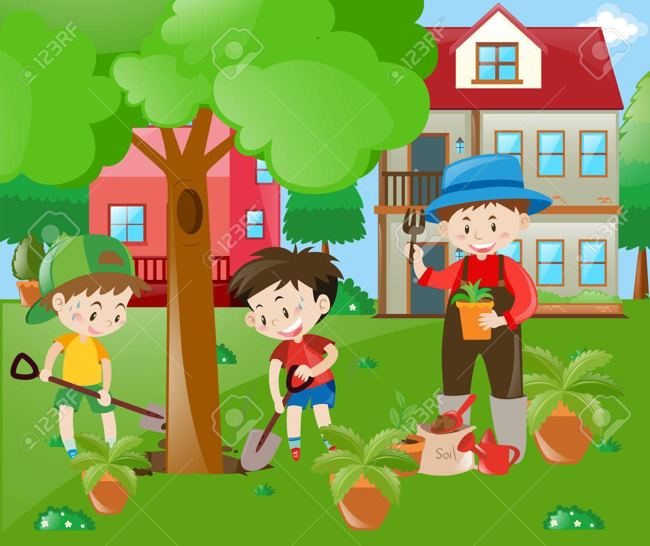 Children Helping Out In The Garden Illustration Stock Vector