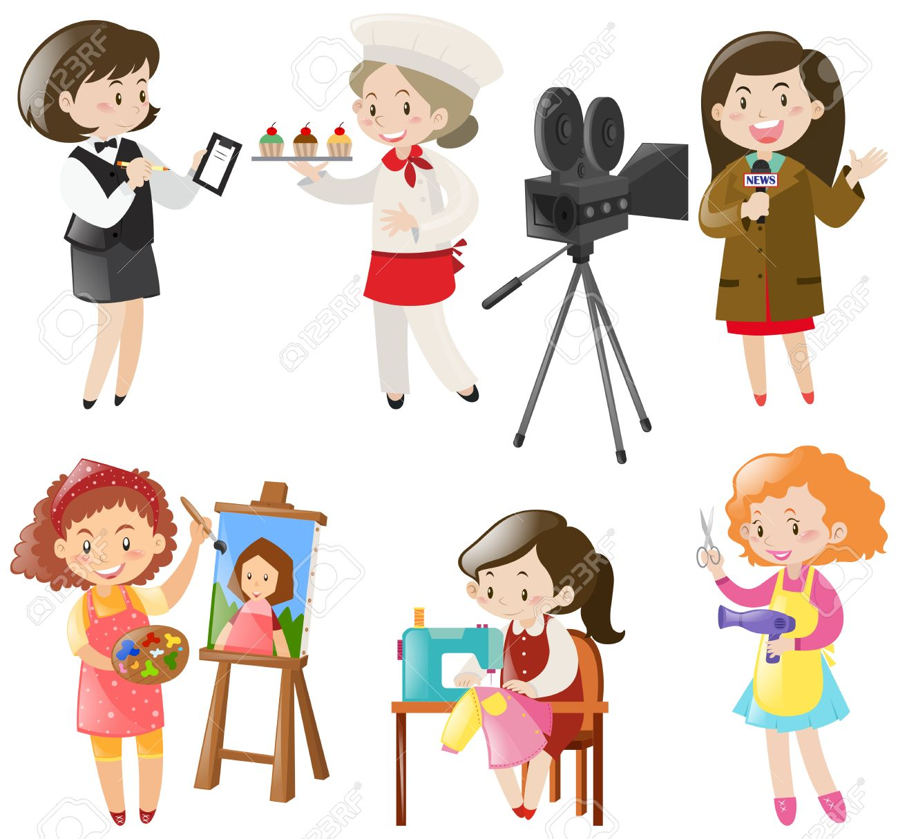 women doing different kinds of jobs illustration royalty free rh 123rf com jobs clipart black and white jobs clip art free