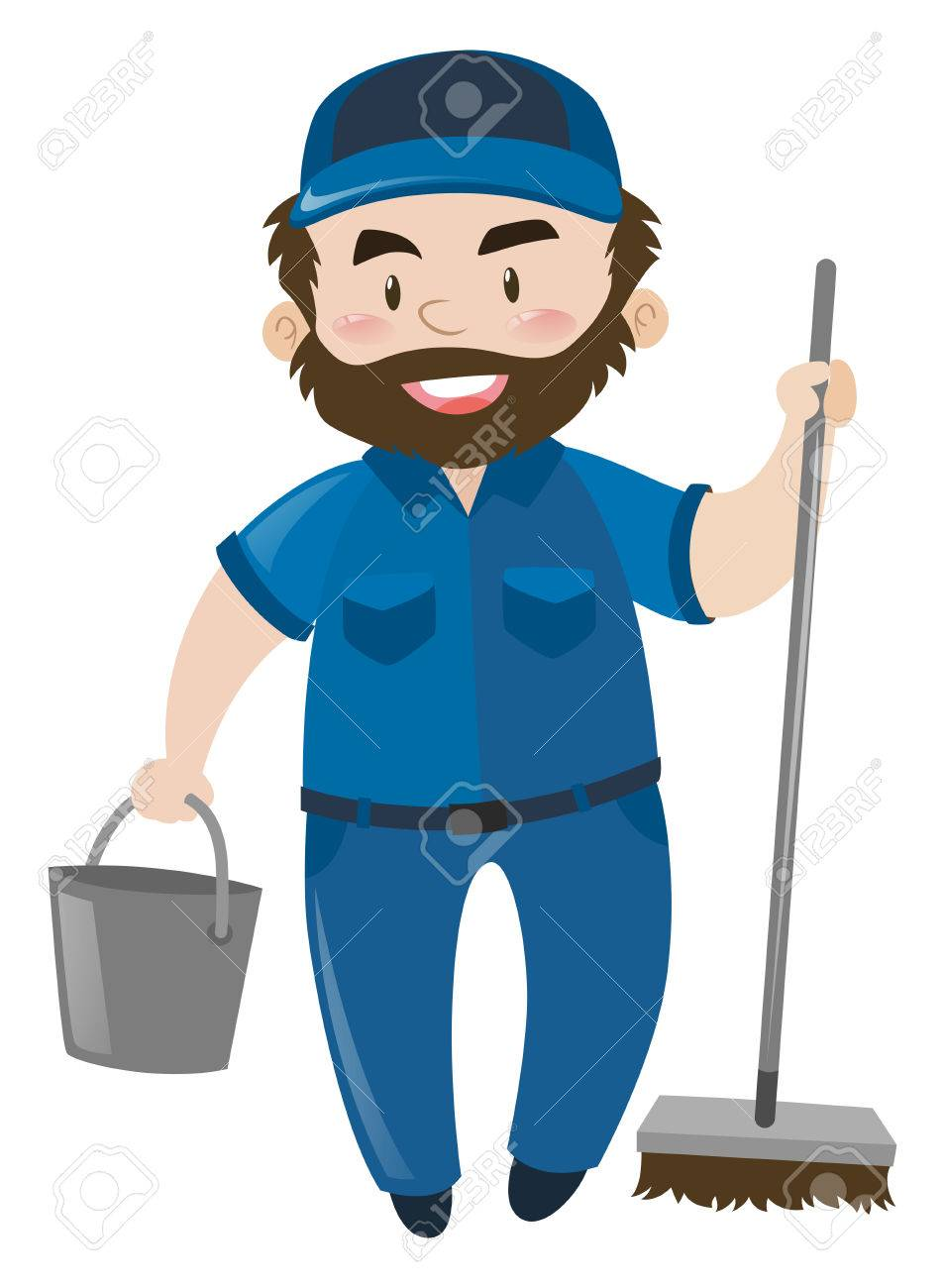 male janitor in blue uniform illustration royalty free cliparts rh 123rf com janitor clip art images janitor clipart images