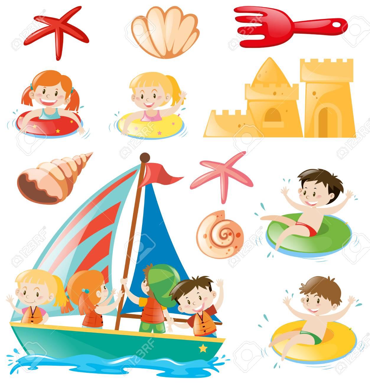 niños en la ilustración de objetos de barco y playa ilustraciones
