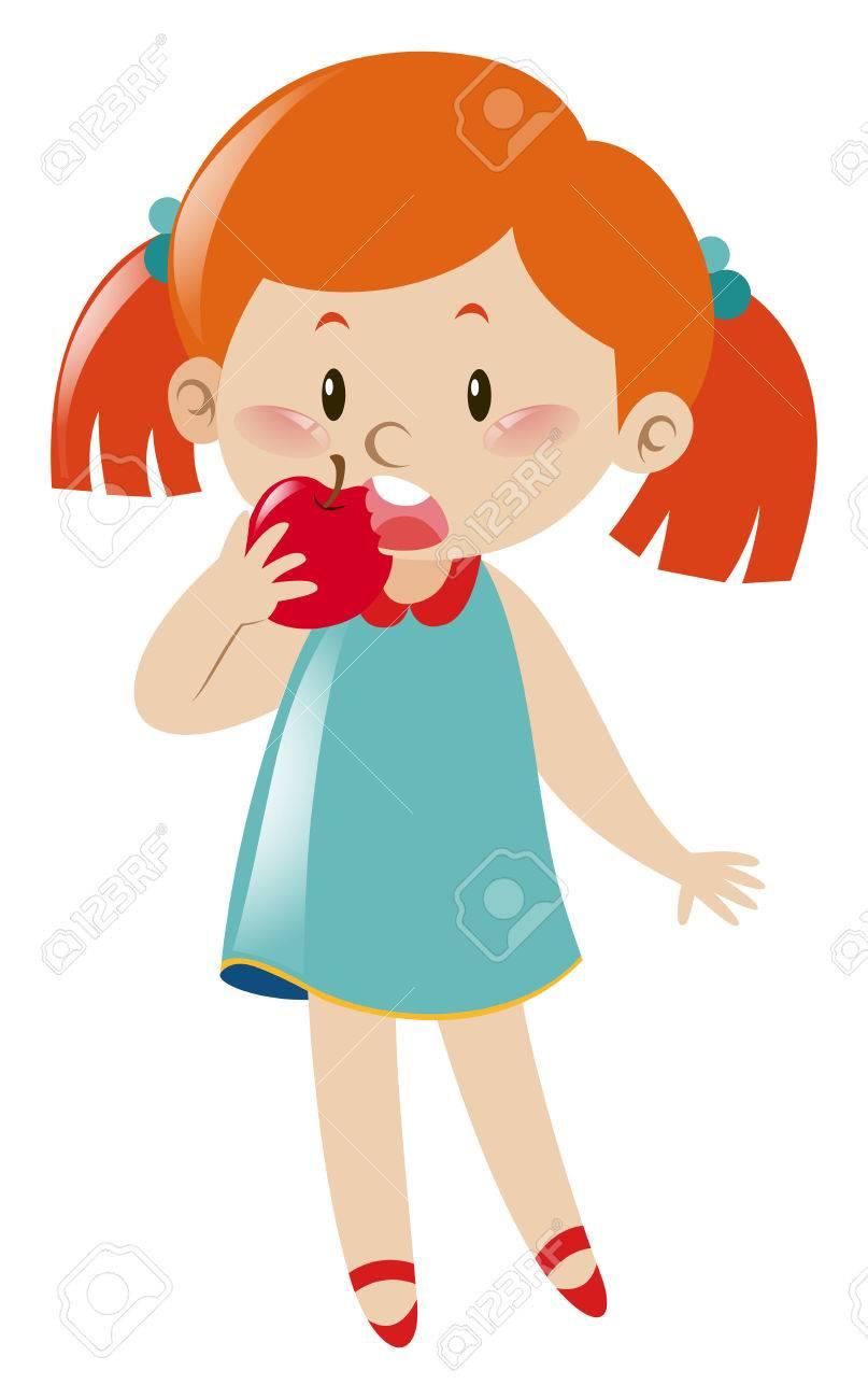 Girl In Blue Dress Eating Apple Illustration