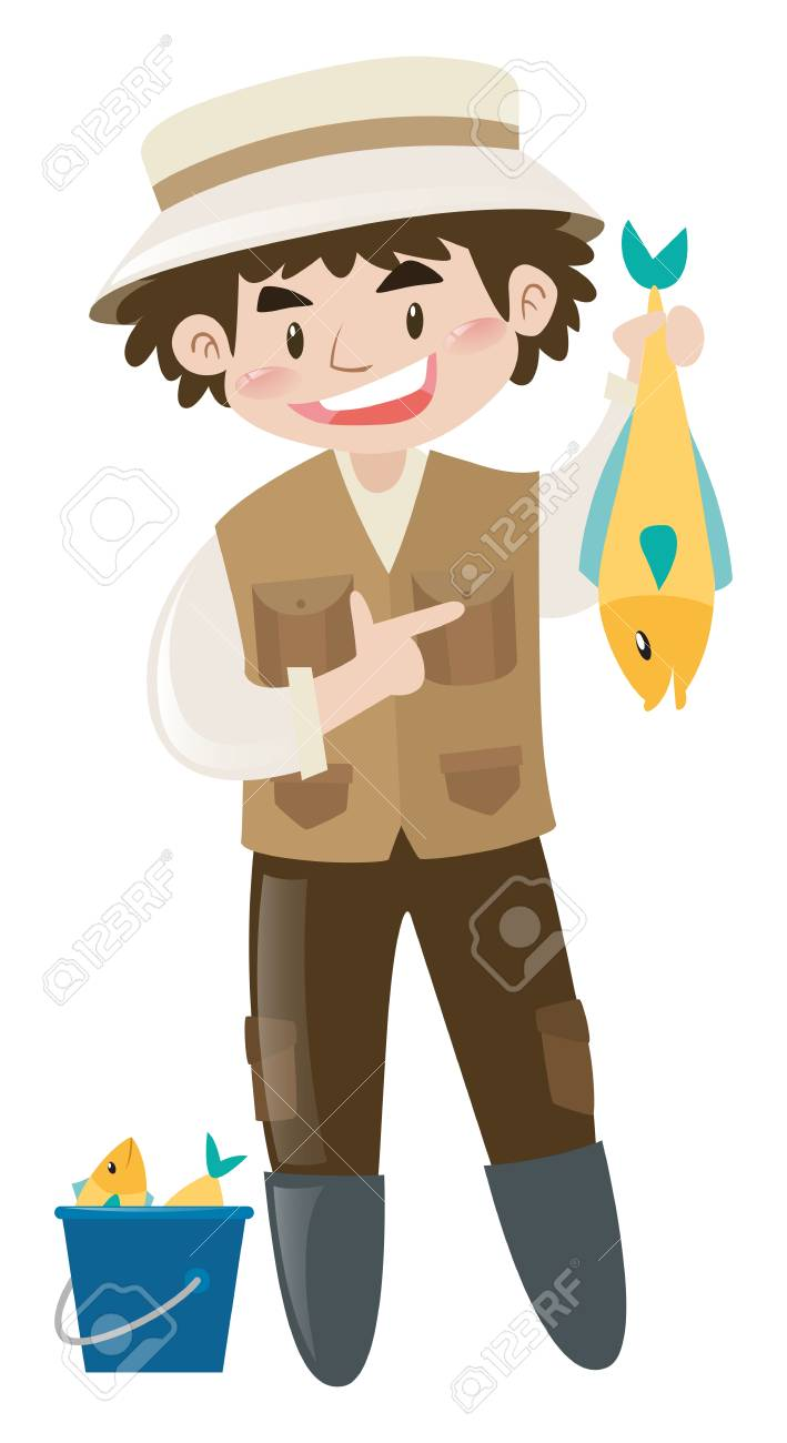 Man Catching Fish Alone Illustration Royalty Free Cliparts Vectors