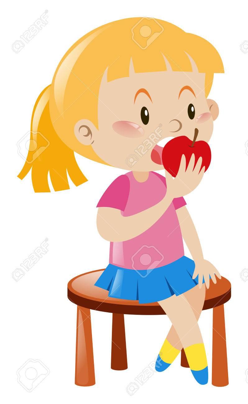 Little Girl Eating Apple Illustration
