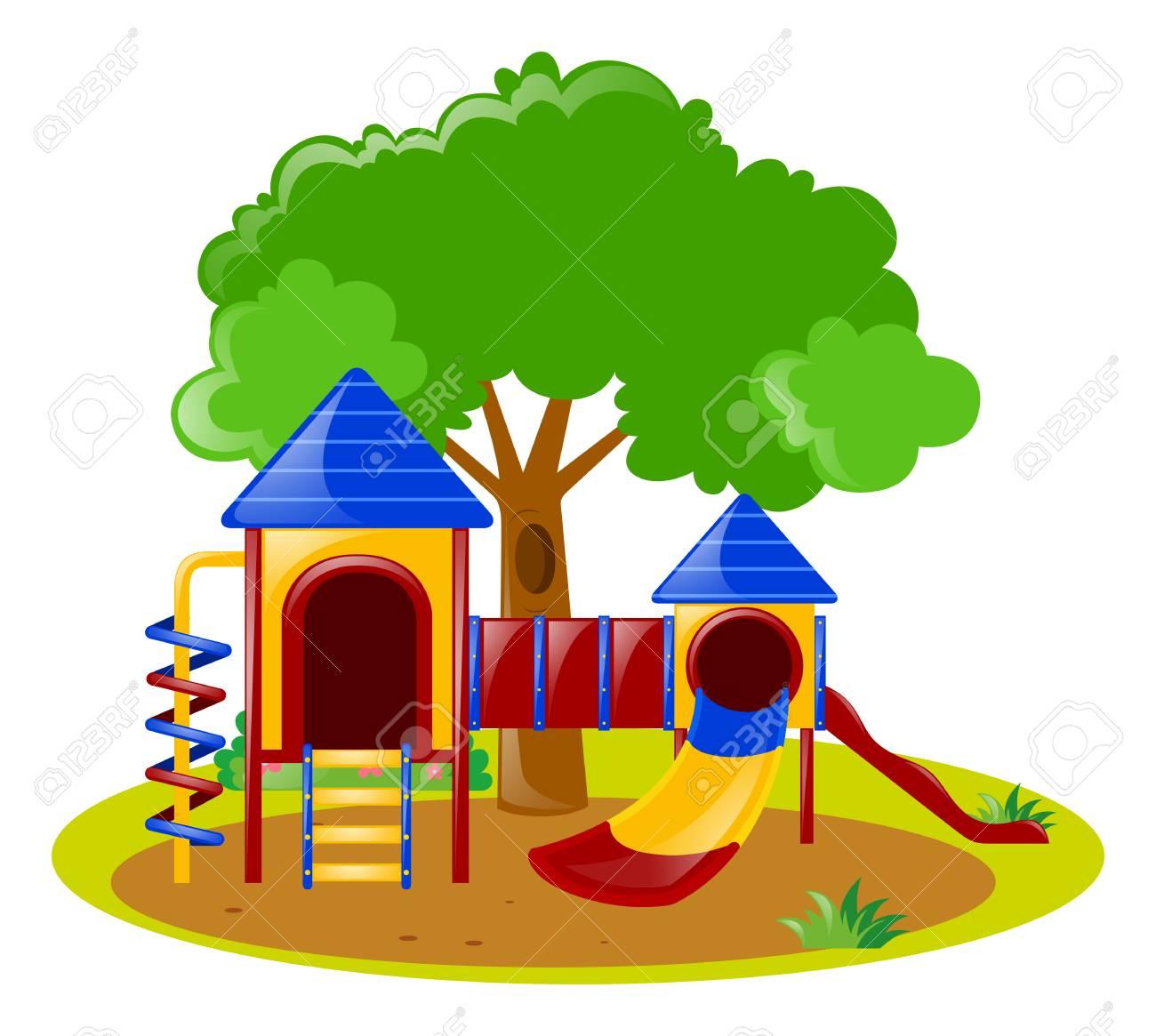 Scene Avec Aire De Jeux Dans Le Parc Illustration Clip Art Libres De Droits Vecteurs Et Illustration Image 64026627