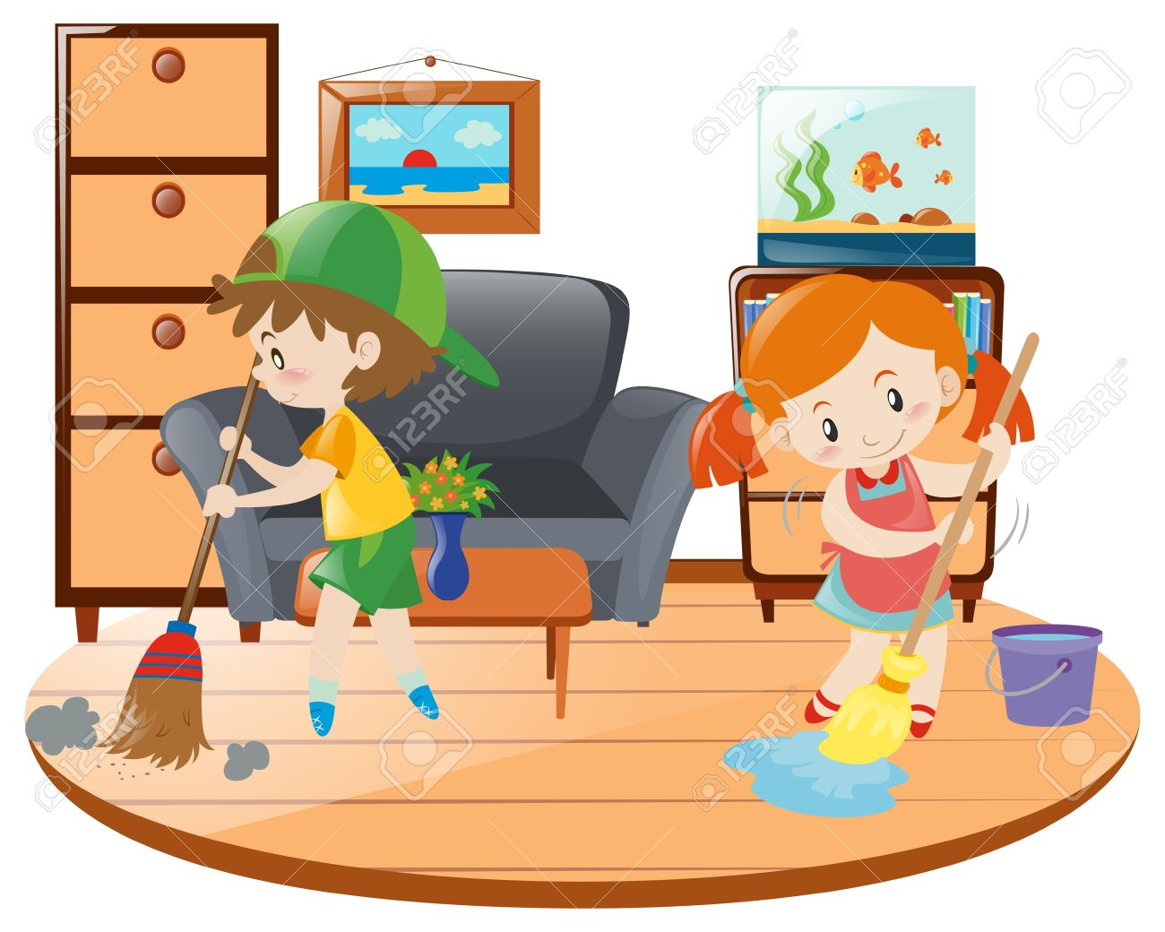 Boy And Girl Cleaning Living Room Illustration Stock Vector