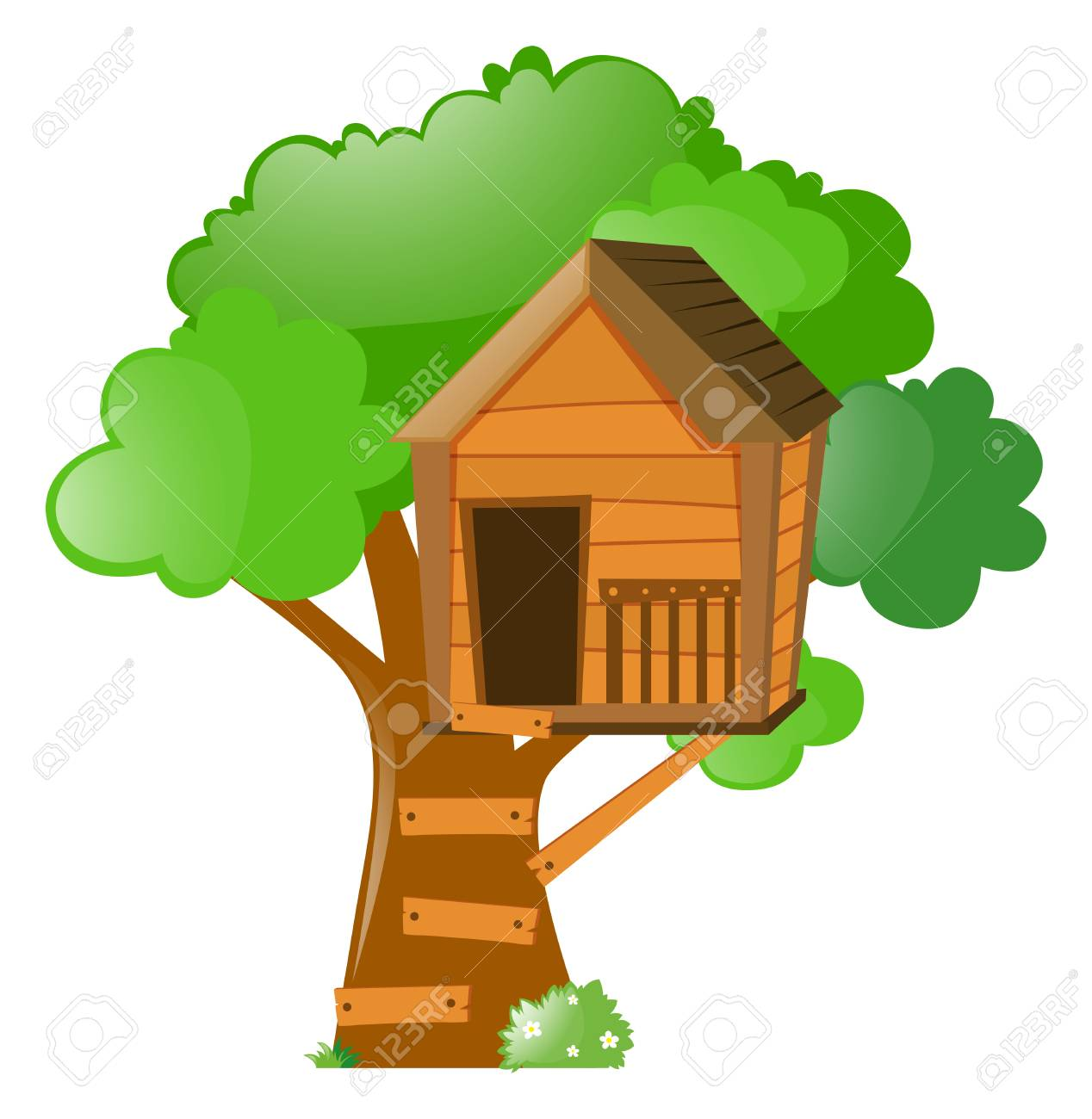 tree with treehouse on it illustration royalty free cliparts rh 123rf com
