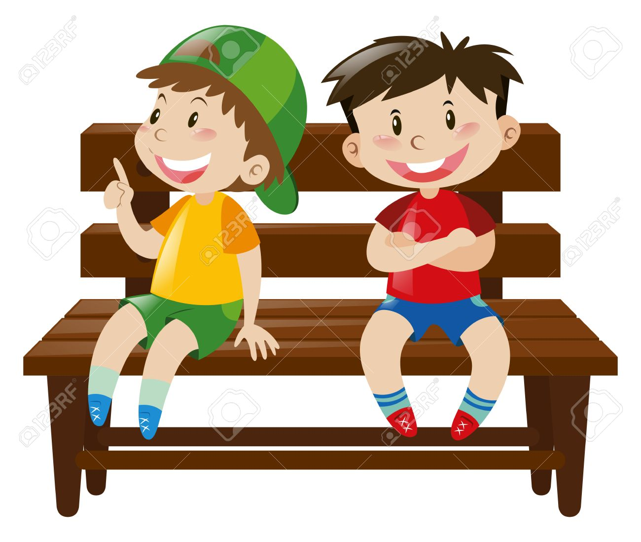 two boys sitting on wooden chair illustration royalty free cliparts rh 123rf com Baby Boy Balloon Clip Art