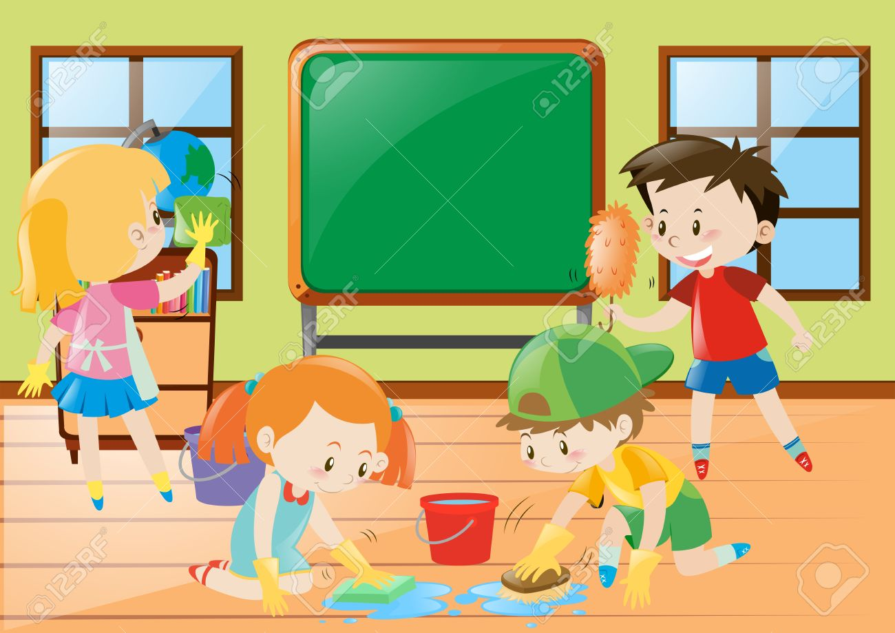 students cleaning classroom together illustration royalty free