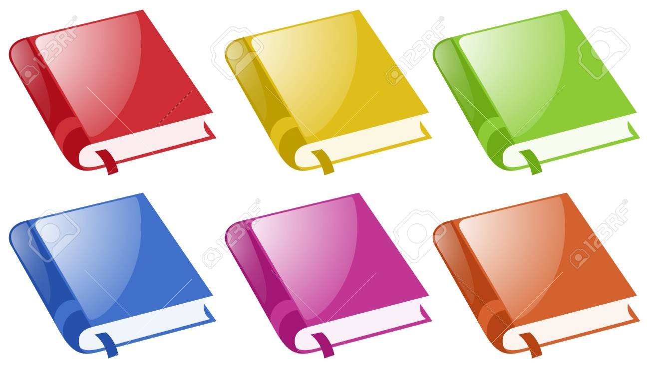 Books In Six Different Colors Illustration Royalty Free Cliparts ...