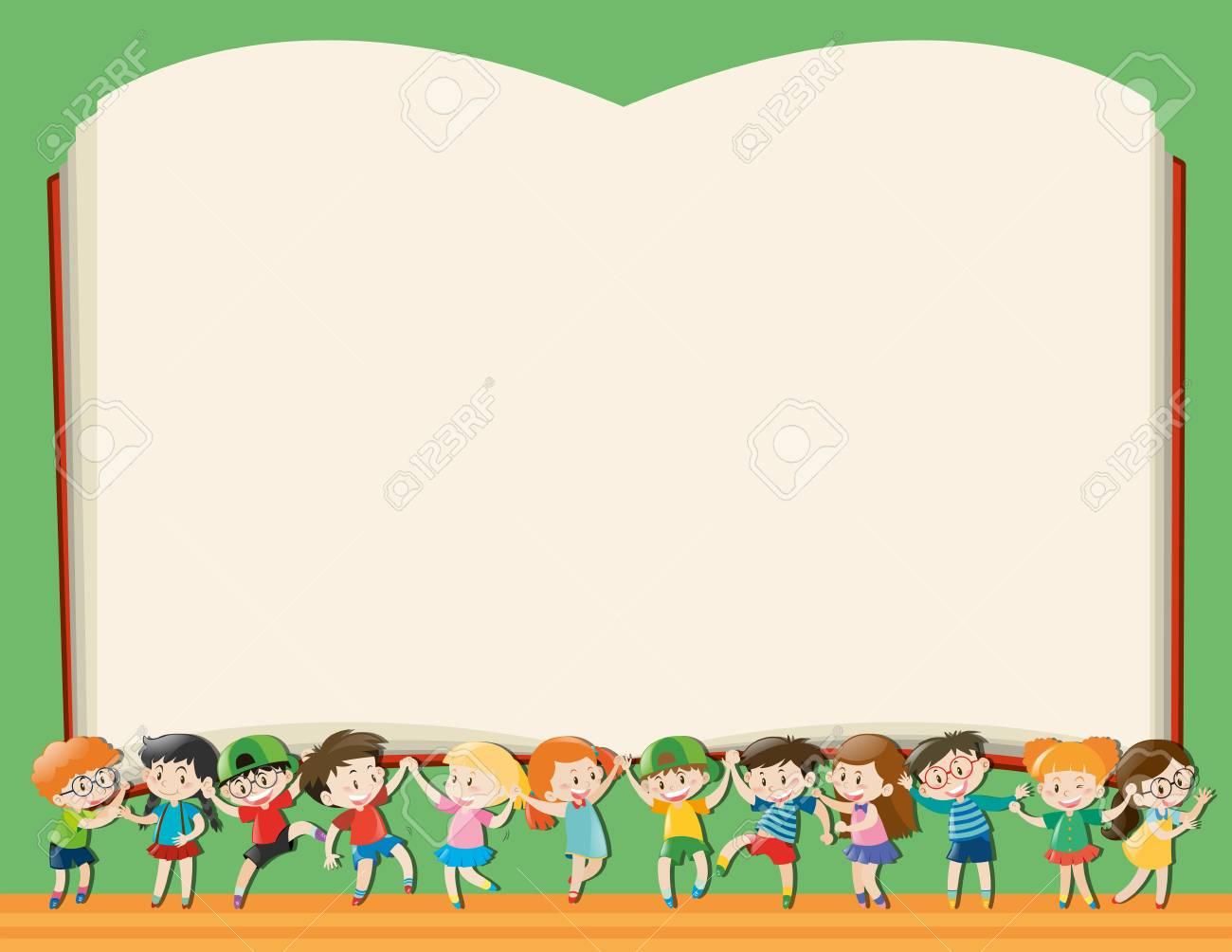 Background template with kids holding big book vector image.