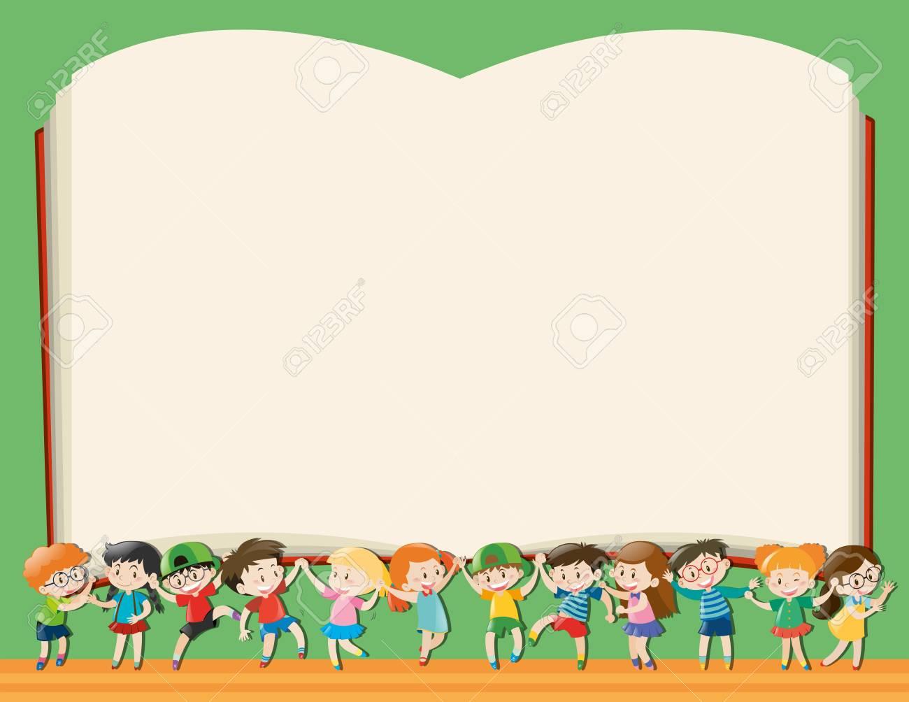 Plantilla De Fondo Con Niños Con Gran Ilustración De Libro ...