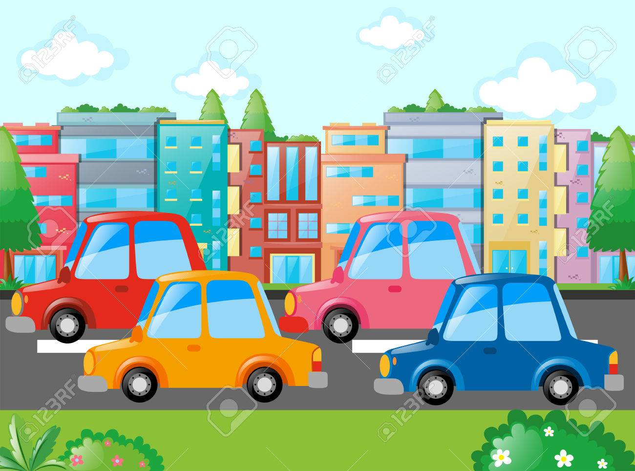 Scene With Many Cars On Road Illustration Royalty Free Cliparts