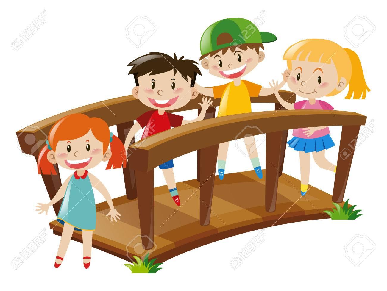 Four kids crossing wooden bridge illustration - 66895129