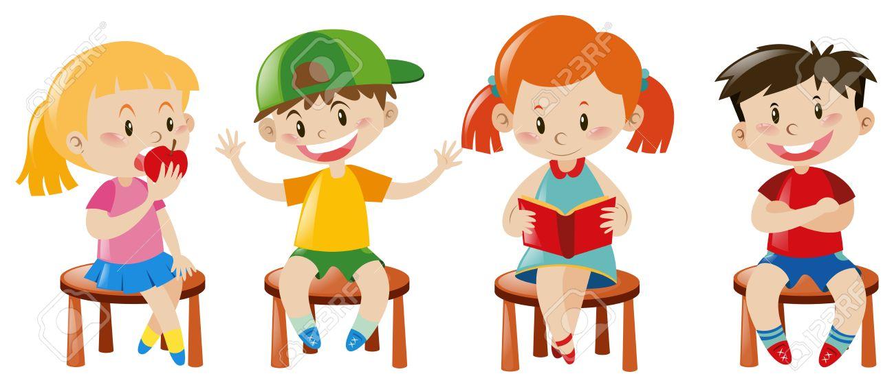 Niños y niñas sentados en sillas de ilustración
