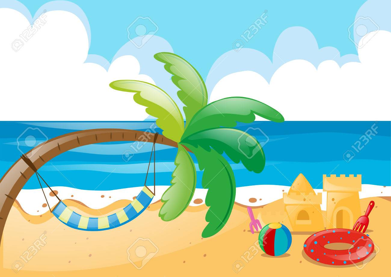 beach scene with hammock on tree illustration royalty free cliparts