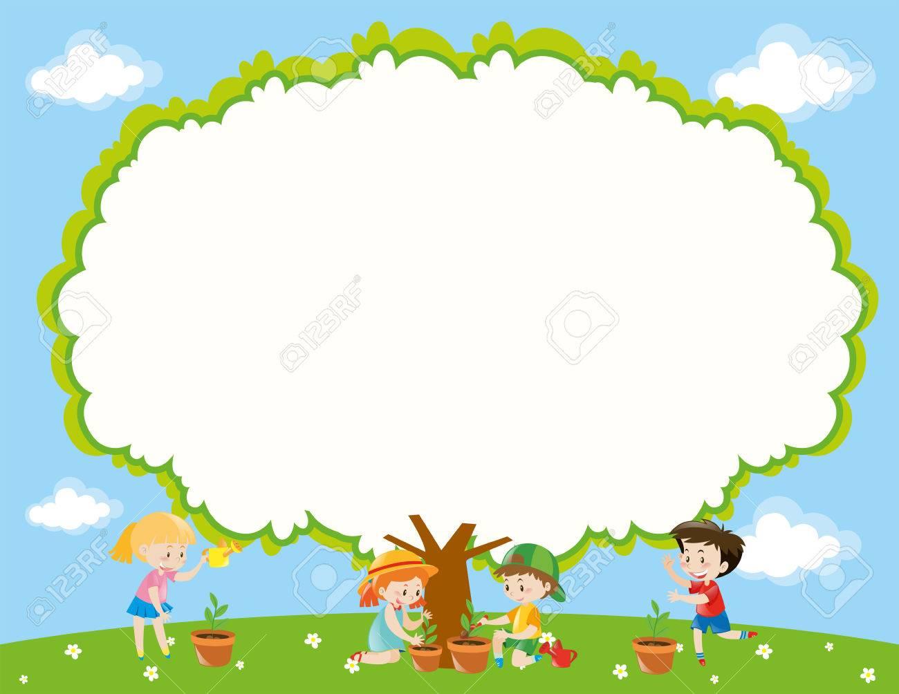 La Plantilla Del Marco Con Los Niños Plantación De árboles En La ...