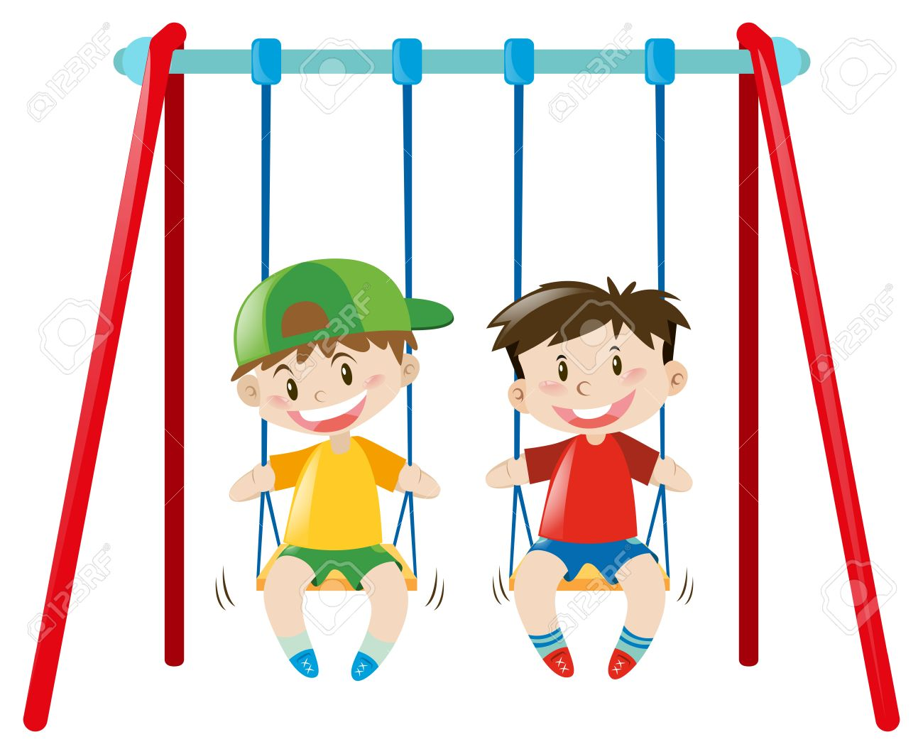 two boys on the swings illustration royalty free cliparts vectors rh 123rf com sewing clip art images sewing clip art for business cards