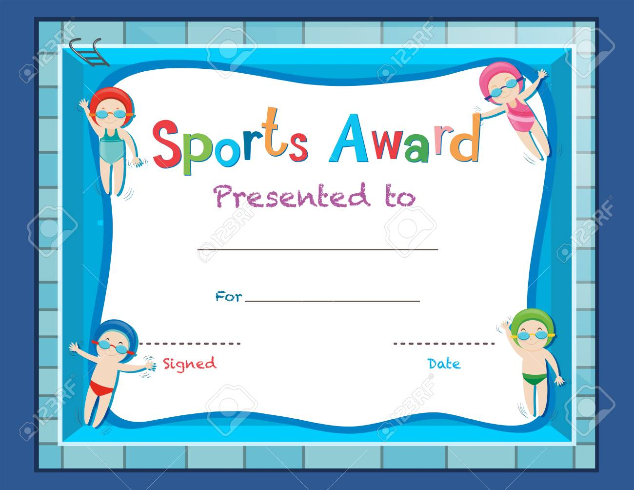 Certificate Template With Kids Swimming Illustration Royalty Free ...