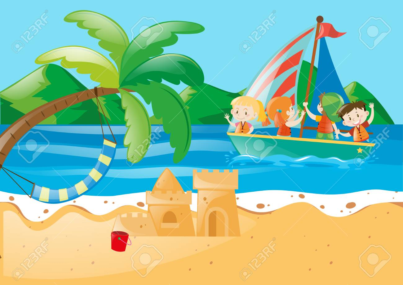 beach scene with kids on the sailboat illustration royalty free rh 123rf com Ocean Life Clip Art Ocean Wave Clip Art