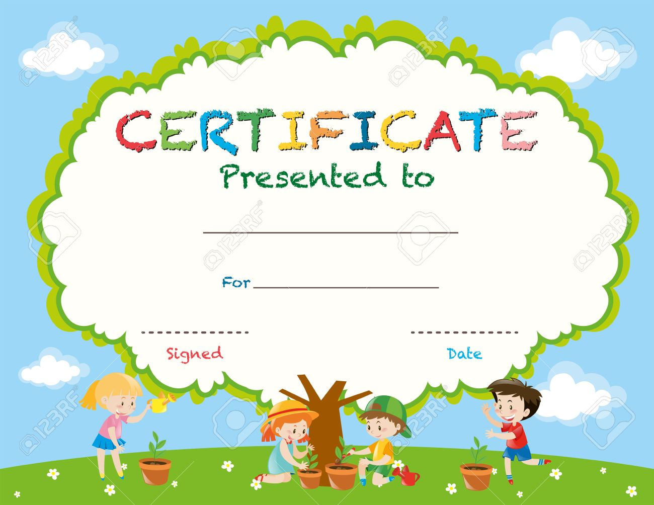 Certificate Template With Kids Planting Trees Illustration Royalty – Certificate Template for Kids