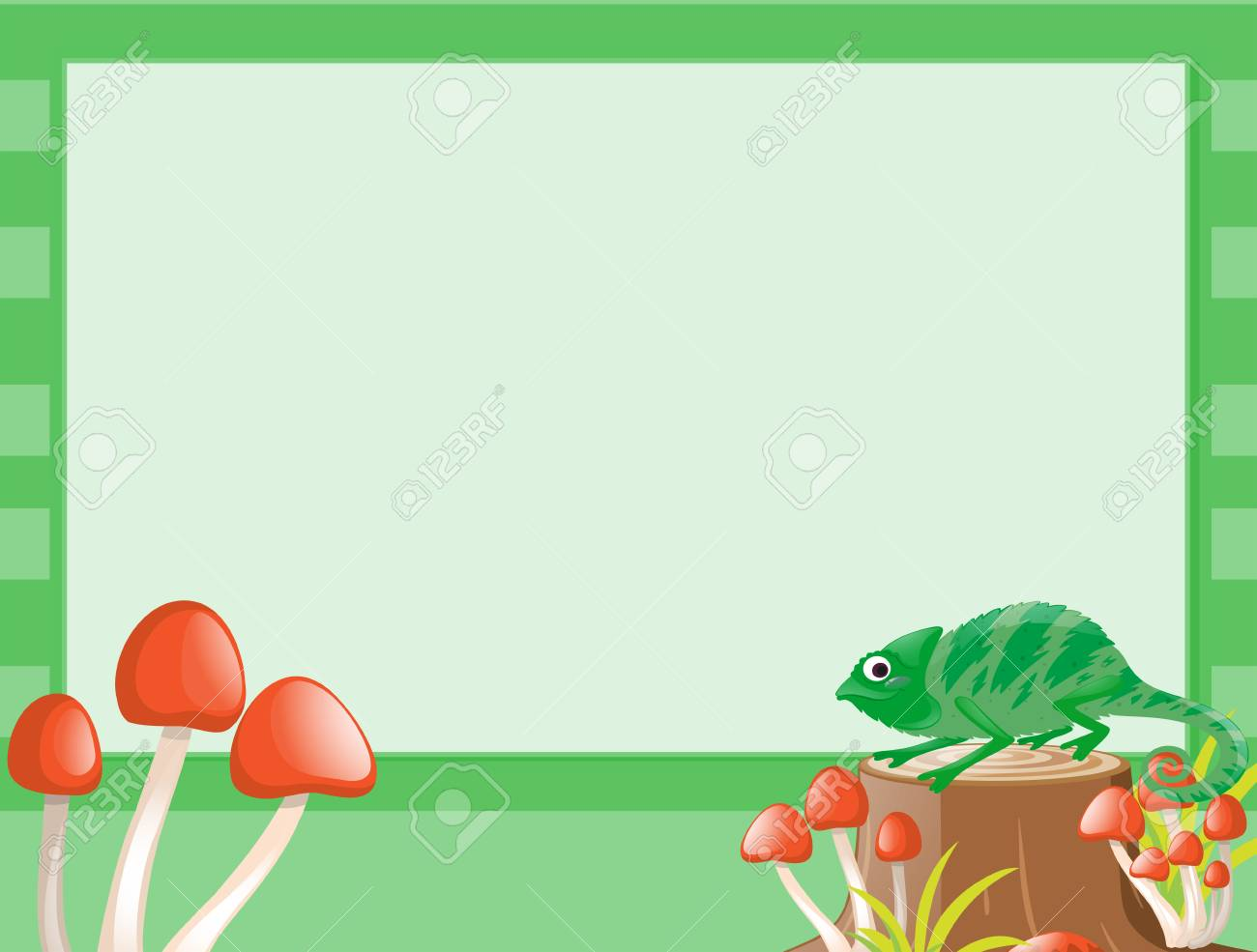 Border Template With Lizard On Log Illustration Stock Vector