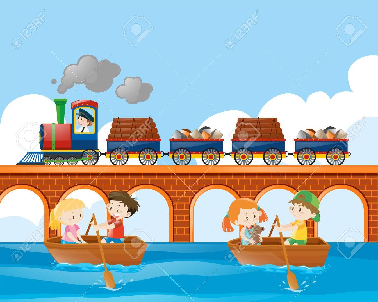Scene Met Trein En Kinderen Roeiboot Illustratie Royalty Vrije