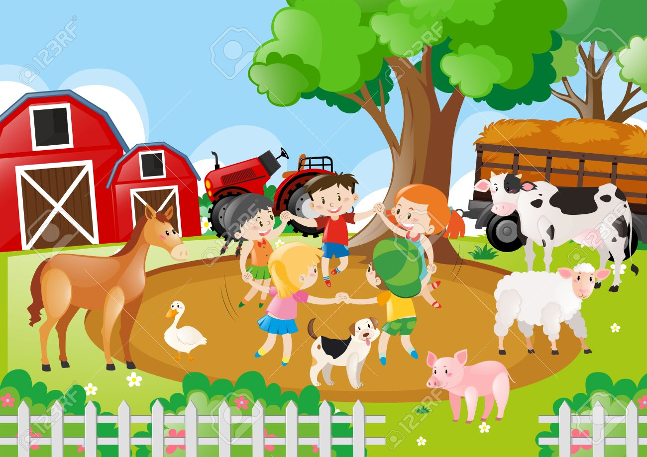 Farm Scene With Children Playing Illustration Royalty Free Cliparts Vectors And Stock Illustration Image 66896061