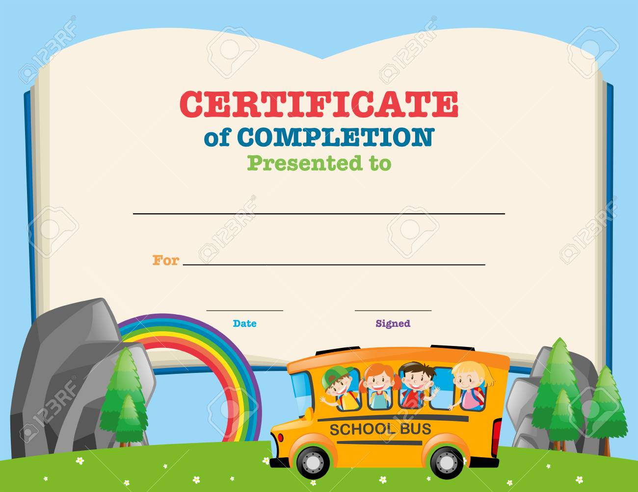certificate template with kids on school bus illustration stock vector 66552821