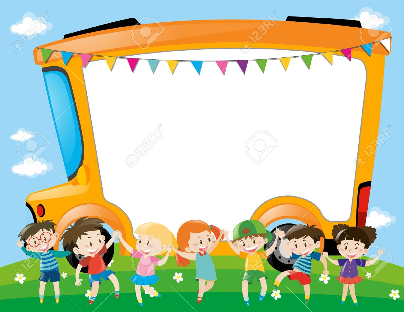 border template with children in the park illustration royalty free