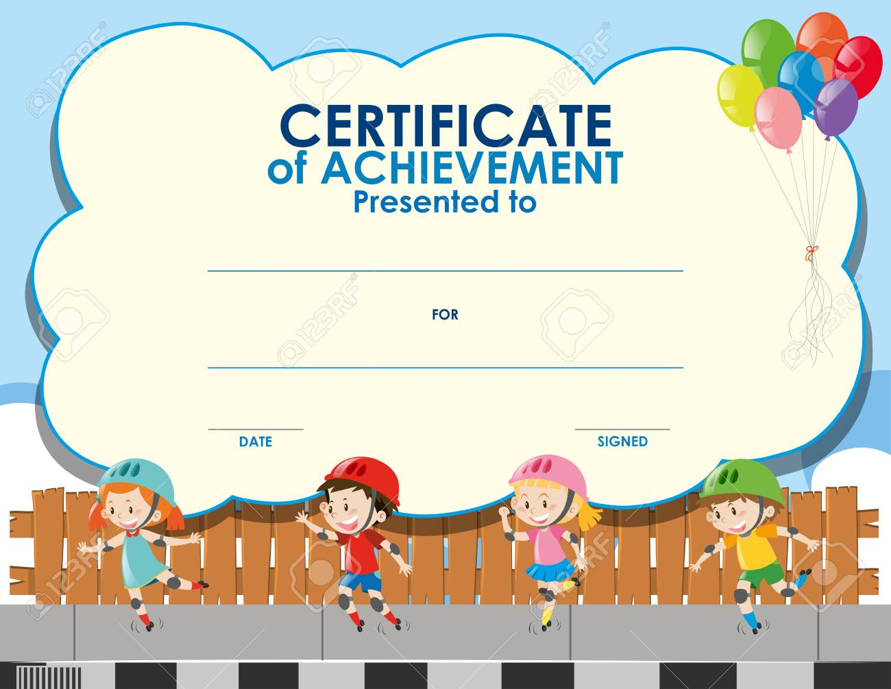 Certificate Template With Kids Skating Illustration Royalty Free ...