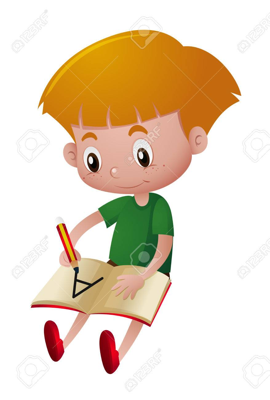 little boy writing on notebook illustration royalty free cliparts