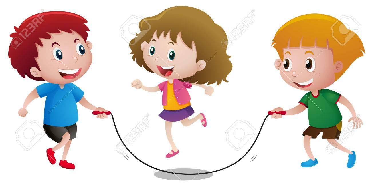 three kids playing jump rope illustration royalty free cliparts rh 123rf com skipping rope clipart black and white jump rope for heart clipart